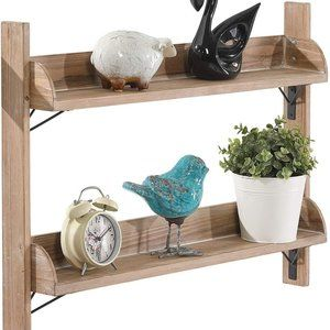 New Rustic  2 Tier Wooden Floating Shelve